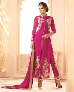 Pink front slit suit with floral lehenga and embroidered palazzo   1. Pink poly georgette front slit suit2.  Golden thread embroidery on hemline3.  Comes with matching santoon bottom palazzo net and chiffon dupatta4. Can be stitched upto size 44 inches