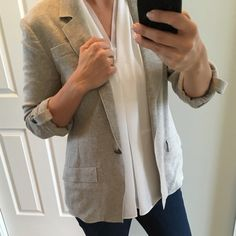 BANANA REPUBLIC   Soft, gray, one button blazer Classic, gray, one-button blazer made of a soft sweatshirt-like material. Worn once. Center back vent and notch lapel. This blazer travels well and is extremely comfortable. Spring cleaning and making room in my closet - No trades. Thanks!!! Banana Republic Jackets & Coats Blazers