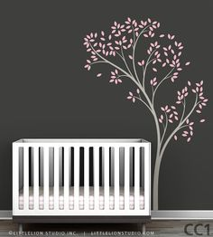 Great wall decal for over the crib with a lighter gray wall. So sophisticated and chic~    Spring Tree Wall Sticker by LeoLittleLion on Etsy, $74.00