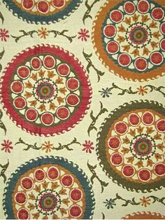 """Suzette Autumn.  Traditional suzanni tapestry fabric. 60% cot/25% poly/15% ray. Perfect for drapery of upholstery fabric. H 28"""", V 17"""" repeat. 56"""" wide."""
