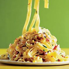 Pasta Carbonara with Corn and Chiles