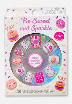 Just Shine Be Sweet & Sparkle Scented Girls Press On Nails Claire's Nails, Cute Nails, Acrylic Nails, Fake Nails For Kids, Essie Nail Polish Colors, Unicorn Fashion, Baby Doll Accessories, Kids Makeup, Girls Nails