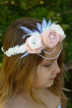 blush pink vintage fabric flower wedding hair wreath by sunshowerflowers #weddinghair #tiara #fabricflower