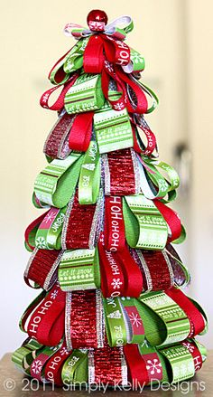 ribbon tree - an easy and fun decoration to make for the holidays #christmas
