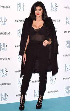 kylie-jenner-red-carpet-all-black-transparent-blouse-coat