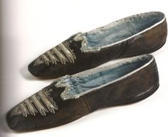 Maroon leather shoes with blue silk lining belonging to Empress Josephine. Malmaison.