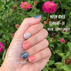 Aug 2019 - Get a super simple and customizable glitter manicure with Color Street! So many gorgeous glitters to make your nails sparkly with no mess and no dry time! This is You're Corally Invited, Moon River and Shangri-La! Shangri La, Glitter Manicure, Uv Gel Nails, Diy Nails, Nail Bling, Shellac, Moon River, Nail Color Combos, Nail Colors