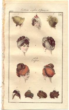 Hair arrangements, hats, and headdresses, English and French, 1803.