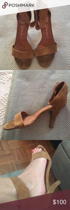 "Jeffrey Campbell Strappy Heels Beautiful Tan Suede Jeffrey Campbell Strappy Heels. Size 8.5. Velcro strap at ankle. 3"" Heels. Jeffrey Campbell Shoes Sandals"