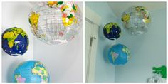hanging blow up globes for peanuts nursery