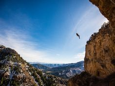 Andrea Szekely taking a giant swing on The Fortress of Solitude on the Western Slope of Colorado. Photo by Mary Mecklenburg.