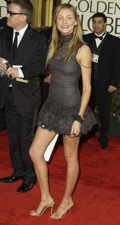 Cameron Diaz in Chanel, 2003- my favorite  look on her! So fun and flirty. I like that she chose a light color for her shoes: Her legs look longer and the focus stays on her amazing dress.