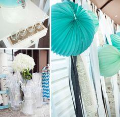 lampion et pompon bleu et vert