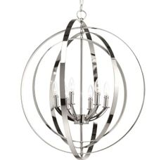 """Polished Nickel Equinox 6 Light 27-3/4"""" Wide Taper Candle Globe Chandelier"""