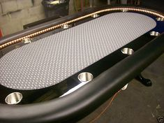 "96"" Custom poker table, claw feet, LED rope lights"