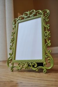 Spray paint picture frames.  Great idea for all those old frames that grandma had.