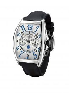 Franck Muller Stainless Steel Men's Mariner Chronograph Timepiece.Stainless Steel Watch with a White Dial and Blue Numerals Outlined in Black. There are Two Sub Dials in the Middle of the Watch and it is on a Black Rubber Strap. Available at London Jewelers!