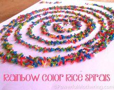 Rainbow Color Rice Spirals Activity
