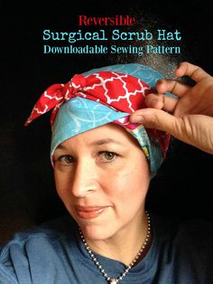 Scrub Hat Sewing Pattern for a reversible surgical cap. New sewing pattern for a Reversible, fully lined surgical scrub hat. This style can either be worn with the bow in front as shown or tied in back with a huge pretty bow. Its like having three or even four hats in one depending how you wear it!! There are lots of photos taken while I sewed the item and an actual pattern to print out and cut out and place on your fabric. This will NOT be mailed to your home. Files are NOT emailed you…