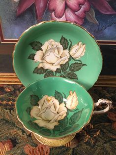 Paragon tea cup and saucer. Excellent condition for their age. No chips, cracks or repair. Very tiny white dots as shown in pictures. Rose Tea, Tea Roses, Vintage China, Vintage Tea, Antique China, Teapots And Cups, Teacups, China Tea Cups, My Tea