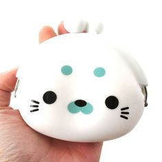 White Baby Seal Shaped Mimi Pochi Animal Friends Silicone Clasp Coin Purse