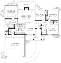 Not bad for a 4/2 under 1300 sq ft. I would definitely alter the front elevation and make a side entry garage.  Ranch 4 Beds 2 Baths 1296 Sq/Ft Plan #80-102 Main Floor Plan - Houseplans.com
