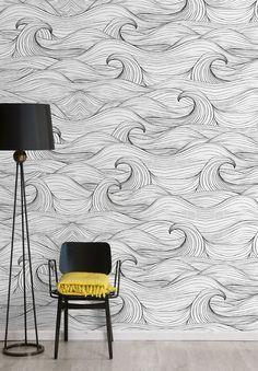 Papier peint à motifs WAVES - Wallpepper À associer avec notre mobilier transparent et élégant sur www.davidlange.com