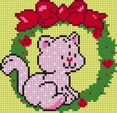 Custard In A Strawberry Wreath From Strawberry Shortcake Perler Bead Pattern / Bead Sprite Pony Bead Patterns, Kandi Patterns, Peyote Stitch Patterns, Pearler Bead Patterns, Perler Patterns, Beading Patterns, Strawberry Shortcake Cartoon, Vintage Strawberry Shortcake Dolls, Christmas Perler Beads