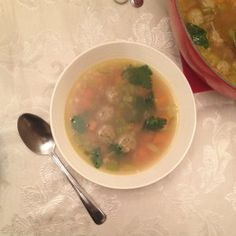 """Maggi meatball soup started out as """"groentesoep met balletjes,"""" or Dutch vegetable soup with meatballs, which I guess it still kind of is? Maggi, the shorthand name for M… Dutch Recipes, Soup Recipes, Netherlands Food, Meatball Soup, Salad Dressing, Soups And Stews, Cheeseburger Chowder, Good Food, Dishes"""