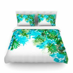 "Ebi Emporium ""Floral Cascade 8"" Teal Green Cotton Duvet Cover from KESS InHouse"