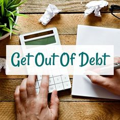 get out of debt overlayed over person using calculator and writing notes with pen on paper on wood desk Monthly Budget Worksheet, Budgeting Worksheets, Get Out Of Debt, Debt Payoff, Live For Yourself, Personal Finance, Saving Money, Wood Desk, Calculator