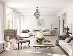 This home is in Madrid. White on white and soft greys and beautiful French furniture. All images from here . Living Room Grey, Home Living Room, Living Spaces, City Living, Living Room Inspiration, Home Decor Inspiration, Style At Home, Long Room, White Rooms