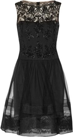 Love this: Lace Trimmed Embellished Tulle Dress @Lyst