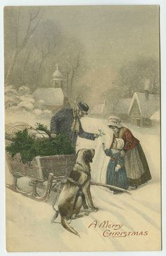 RESERVED FOR CAN Christmas Greetings Beautiful Art Postcard Sleigh Dog Man Hands…