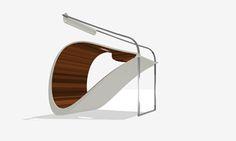 Iron and wood chair designed by Milla Rezanova.