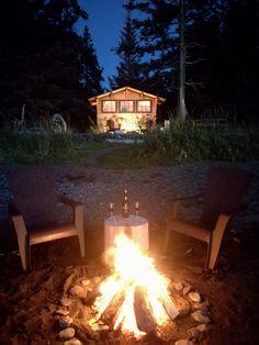 Enjoy a private beach fire, Kachemak Bay State Park. Alder Tree, Luxury Glamping, Luxury Cabin, Ocean Sounds, Luxury Accommodation, Cozy Cabin, Cabin Rentals, Sandy Beaches, Vacation Destinations