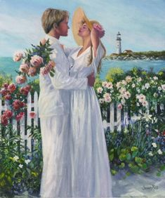 Kosanovich - reminds me of my lovely friends The Kosas on their wedding day! Nantucket Embrace - Shop by Art Size - Gallery Romantic Pictures, Wedding Pictures, Painting People, Wedding Art, Couple Art, Couples In Love, Flower Art, Illustration Art, Beautiful