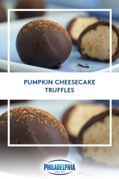 Give thanks for these Pumpkin Cheesecake Truffles. So easy to make, and irresistible at family gatherings. Made with rich and creamy PHILADELPHIA Cream Cheese, graham cracker crumbs, and pumpkin pie. Thanksgiving Desserts, Holiday Desserts, Just Desserts, Holiday Baking, Christmas Baking, Delicious Desserts, Dessert Recipes, Yummy Food, Thanksgiving Ideas
