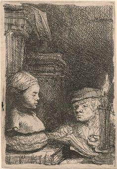 Rembrandt van Rijn, Man Drawing from a Cast, ca. 94 x 64 mm. The Morgan Library & Museum Rembrandt Etchings, Rembrandt Drawings, Rembrandt Art, Leiden, Harvard Art Museum, Dutch Golden Age, Dutch Painters, Vintage Wall Art, Gravure