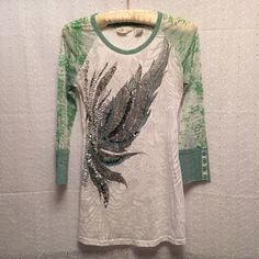 Miss Me top Miss Me top. 3/4 length sleeves. Sheer. Green, white and silver. Good used condition. Miss Me Tops