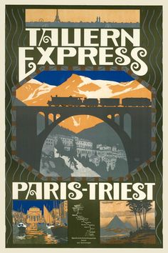 I first saw this, I thought it was TALLINN Express. Tauern Express is still kind of awesome. With stops in Brussels, Ljubljana—all the way to Athens. Travel Ads, Bus Travel, Travel Images, Travel And Tourism, Train Travel, Train Posters, Railway Posters, Tourism Poster, Poster Ads