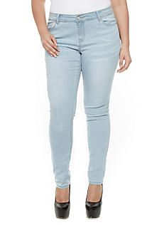 Plus Size Wax Whisker Wash Skinny Jeans with Contrast Stitching,LIGHT WASH