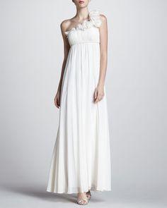 ShopStyle: Aidan MattoxOne-Shoulder Ruffled Empire Gown