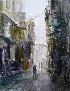 CELAL GÜNAYDIN Turkish Artist Painter Watercolor - suluboya İstanbul, 35X25