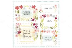 hand drawn flower frames by sally123 on @creativemarket