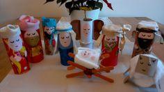 nativity scene using toilet rolls