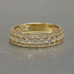 1.10ct Diamond Wedding Ring,Solid 14K Yellow gold,Anniversary Ring,Eternity Band