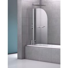 Moxby Double Curved Bath Screen with Towel Rail