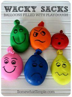 Wacky sacks! baloons + play dough = wacky sacks