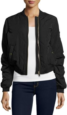 Romeo & Juliet Couture Quilted Woven Bomber Jacket, Black